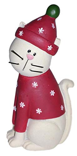 Blossom Bucket White Kitty Cat in Red Snowflake Sweater & Hat Resin Figurine #1