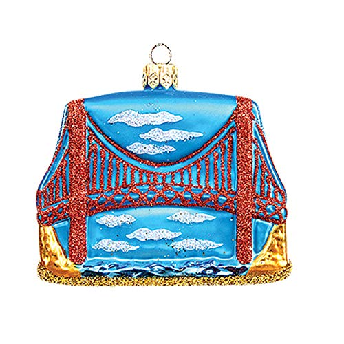 Pinnacle Peak Trading Company Golden Gate Bridge San Francisco Polish Glass Christmas Ornament Decoration