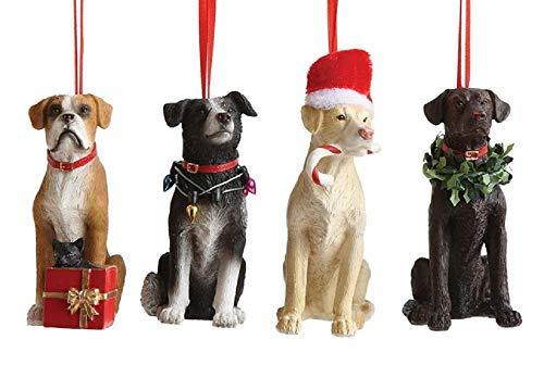 Creative Co-op Festive Pups Holiday Dog Ornaments – Set of 4