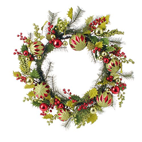 RAZ Imports – 24″ Holly Christmas Ball Ornament Wreath