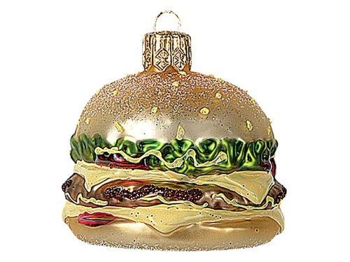 Pinnacle Peak Trading Company Miniature Cheeseburger Glass Christmas Ornament Fast Food Burger Decoration New