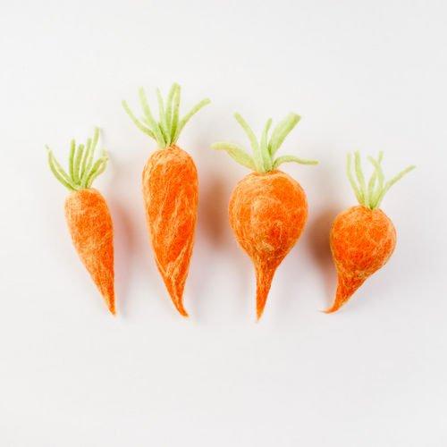 One Hundred 80 Degrees Wool Carrots, Set of 4, 8-10″ Long
