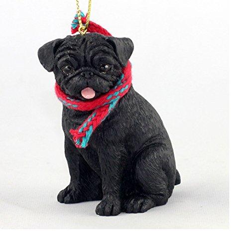 Conversation Concepts Adorable Black Pug w/Removable Scarf Ornament 3″