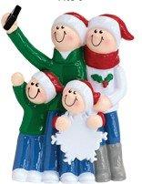 Selfie Family Christmas Ornament (Family of 4)