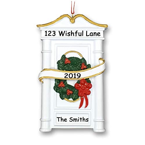 Personalized New Home Our First House Christmas Holiday Decoration Door with Wreath and Ribbon Hanging Christmas Ornament Decoration Gift – Custom Name Address and Date