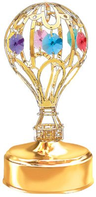 24K Gold Plated Hot Air Balloon Music Box Gold Base Color Crystal – Multicolored – Swarovski Crystal