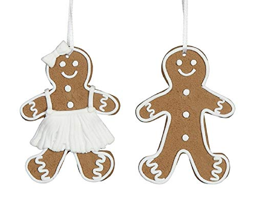 Creative Co-op Gingerbread Boy & Girl Clay Dough Holiday Ornaments – Set of 2