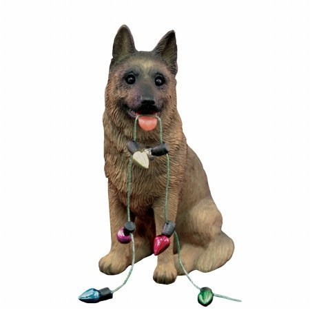 Sandicast German Shepherd Holding Holiday Lights Christmas Ornament by Sandicast [並行輸入品]