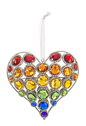 Ganz Valentine Day Crystal Acrylic Rainbow Heart Jewel 4.5in Ornament