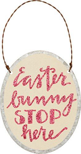 Primitives by Kathy PBK Easter Decor – Bunny Stop Here Small Tin Ornament Sign