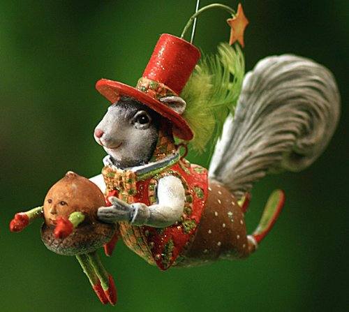 Patience Brewster Krinkles Mr. Squirrel with Acorn Christmas Ornament