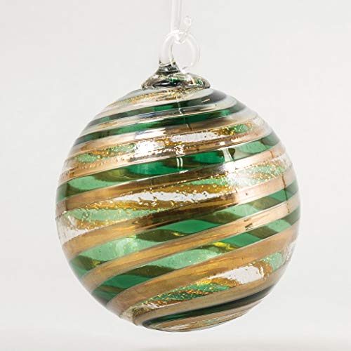 Glass Eye Studio Artisan Ball Ornament Golden Evergreen