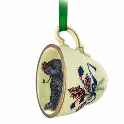 Conversation Concepts Labradoodle Black Tea Cup Green Ornament