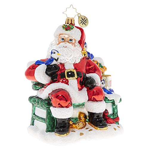 Christopher Radko Hand-Crafted European Glass Christmas Ornament, Santa's Happy Place