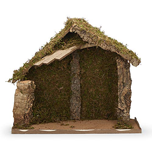 Fontanini, Italian Stable, 21″ H, Wood/Moss/bark, 12″ Scale, Collection, Handmade in Italy, Designed and Manufactured in Tuscany, Polymer, Hand Painted, Italian, Detailed