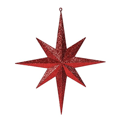 Vickerman M167503 Plastic Iridescent Glitter Bethlehem Star, 15.75″, Red