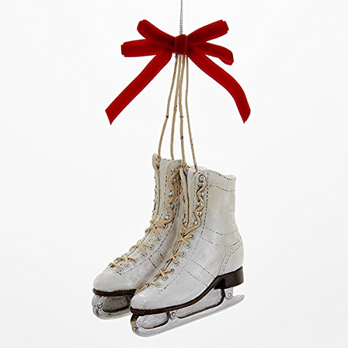 Kurt Adler 3.25″ Ice Skates with a Red Bow Ornament