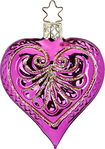 Inge-Glas Heart Hot Pink Shiny 10138S019 German Glass Christmas Ornament