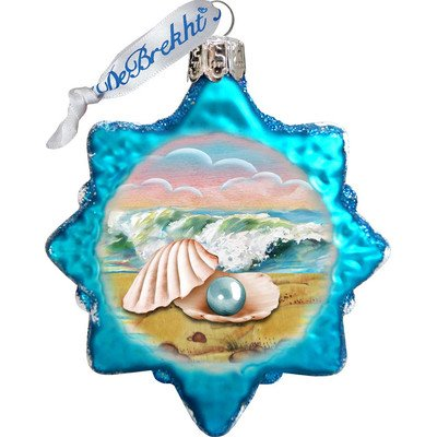G. Debrekht Pearl Shell Glass Ornament