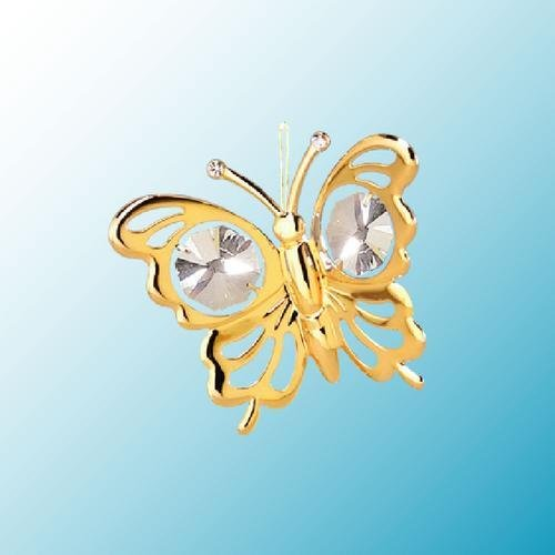 Mini Butterfly … Hanging Sun Catcher or Ornament….. With Clear Swarovski Austrian Crystals