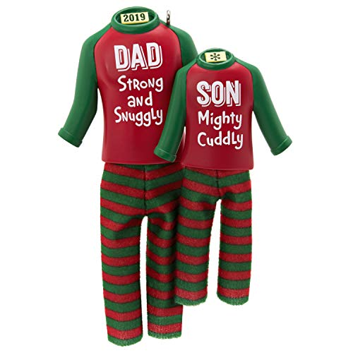 Hallmark Keepsake Ornament 2019 Year Dated Dad and Son Matching Christmas Pajamas, Fabric, 12″