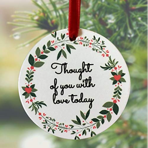 BANBERRY DESIGNS Memorial Christmas Ornament – I Thought of You with Love Today Ceramic Keepsake Hanging Decor – Memorial Gift Loss of a Loved One