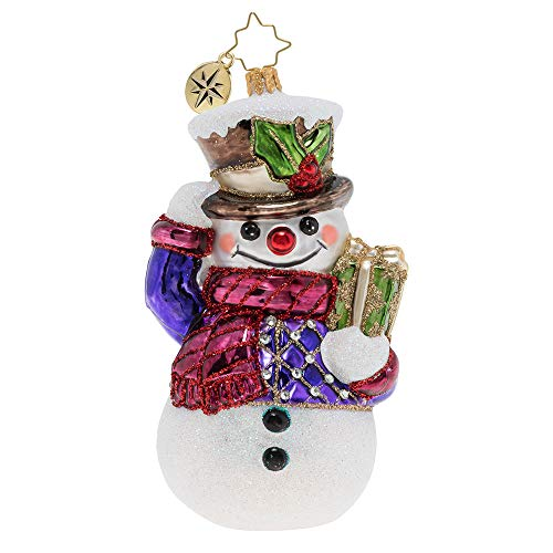 Christopher Radko Hand-Crafted European Glass Christmas Decorative Figural Ornament, Fanciful Frosty Friend