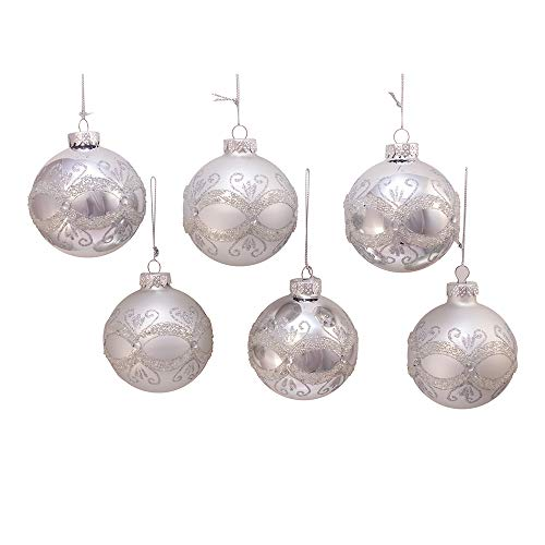 Kurt Adler Kurt S. Adler 80MM Silver with Glitter and Sequins Glass Ball, 6 Piece Box Ornament,