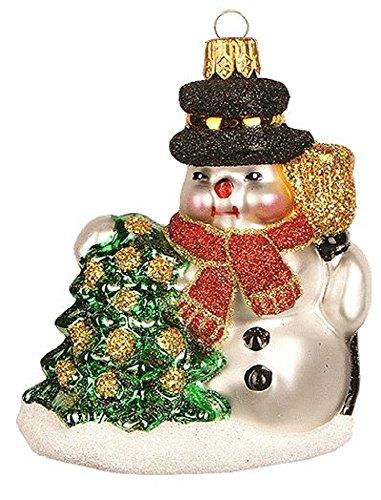 Pinnacle Peak Trading Company Miniature Snowman with Tree Polish Glass Christmas Tree Ornament Decoration