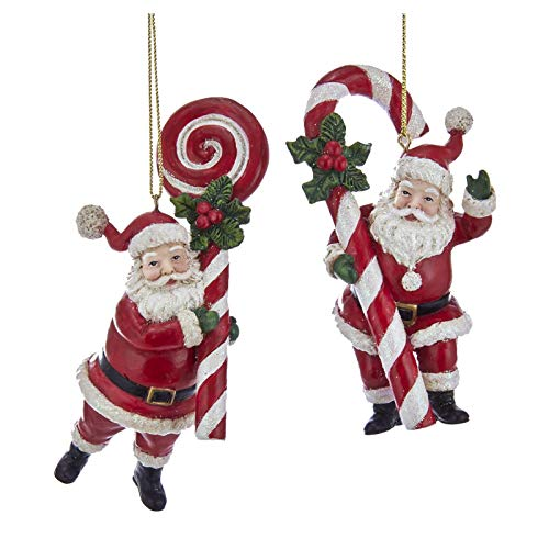 Kurt Adler Set/2 Candy Cane Lollipop Santa Claus Christmas Tree Decor Figurine Ornaments