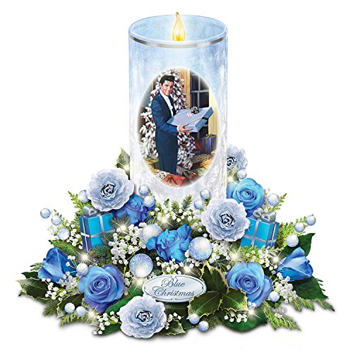 The Bradford Exchange Elvis Presley Candle with Blue Rose Bouquet Plays Blue Christmas and Lights Up
