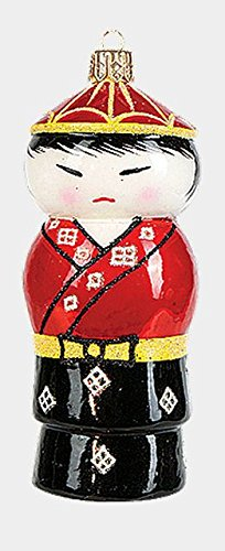 Pinnacle Peak Trading Company Red Man Japanese Kokeshi Doll Polish Blown Glass Christmas Ornament Decoration