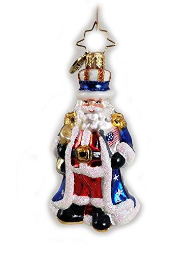 Christopher Radko Uncle Sam Santa Little Gem Glass Ornament Made in Poland