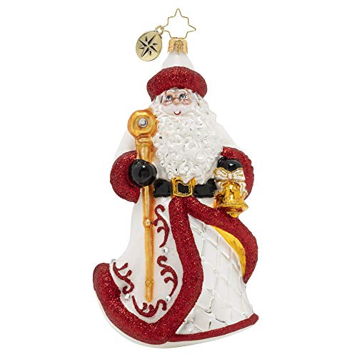Christopher Radko Hand-Crafted European Glass Christmas Ornament, Kris Trimmed in Crimson
