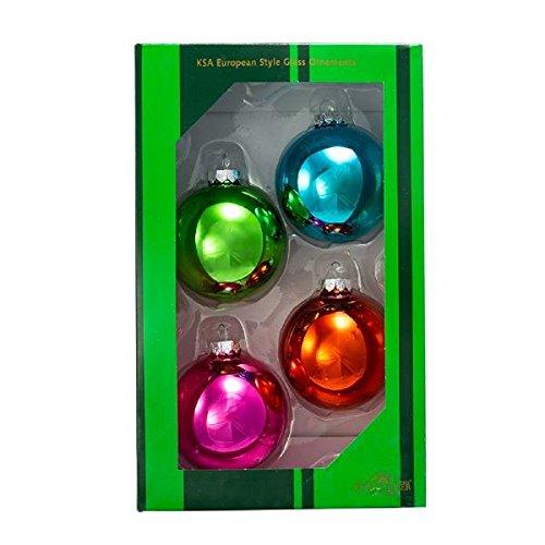 Kurt Adler Glass Brightly Colored Shiny Ball Ornaments 4 Piece Box Set