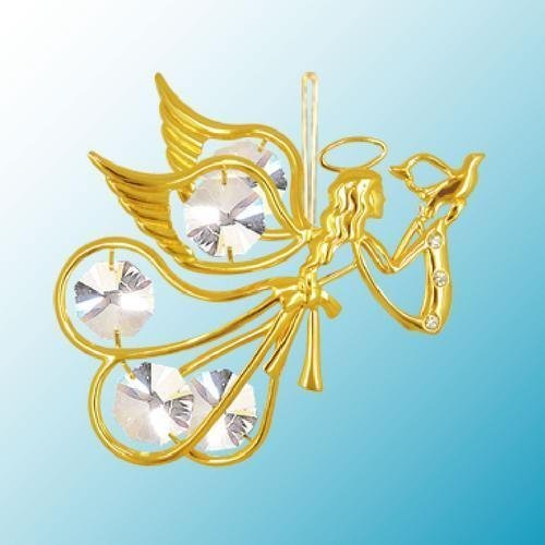 24K Gold Plated Hanging Sun Catcher or Ornament….. Flying Angel Holding a Dove with Clear Swarovski Austrian Crystal