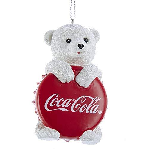 Kurt Adler Coca Cola Polar Bear Cub with Bottle Cap Ornament