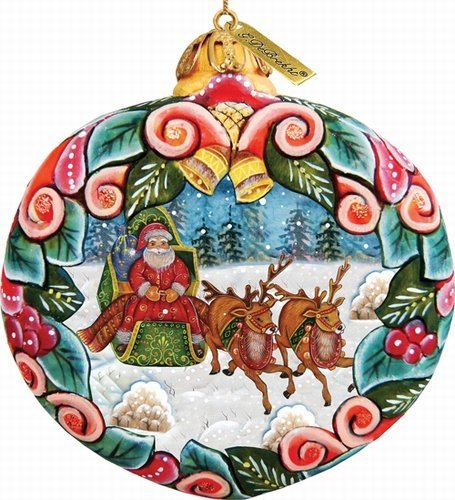 G. Debrekht Holiday Slight Ride Scenic Ornament, 3.5″
