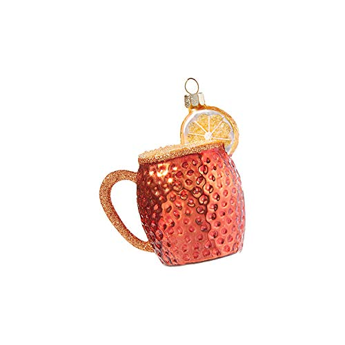 Raz Sparkle Sepia Lemon Moscow Mule 3.5 inch Glass Decorative Christmas Ornament