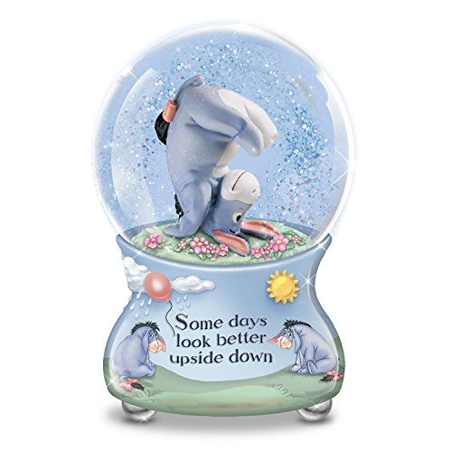 The Bradford Exchange Disney Some Days Look Better Upside Down Eeyore Musical Glitter Globe