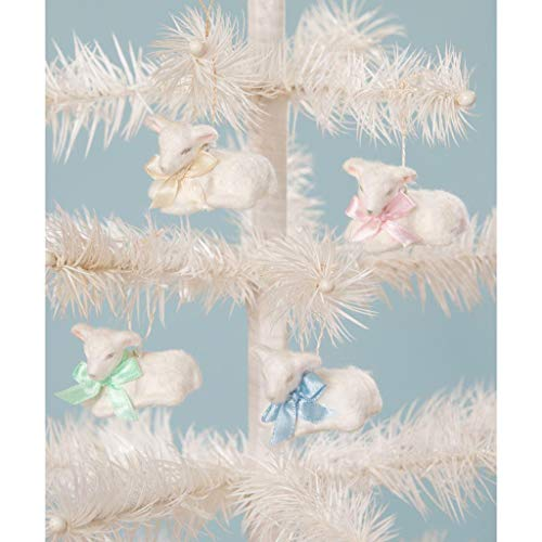 Bethany Lowe Spring Fuzzy Easter Lamb 1.75″ Tall Ornaments – Set of 4