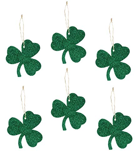 Bethany Lowe St Patricks Day Tin Glitter Shamrock Ornament Set of 6