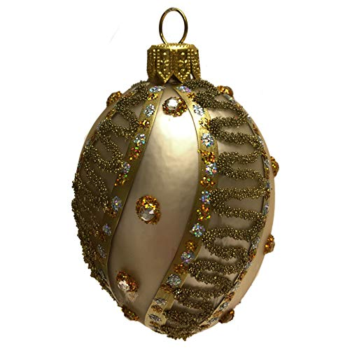 Pinnacle Peak Trading Company Mini Champagne Gold Jeweled Faberge Inspired Egg Polish Glass Christmas Ornament
