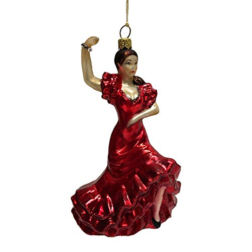 Pinnacle Peak Trading Company Spanish Flamenco Dancer in Red Dress Polish Glass Christmas Tree Ornament Spain