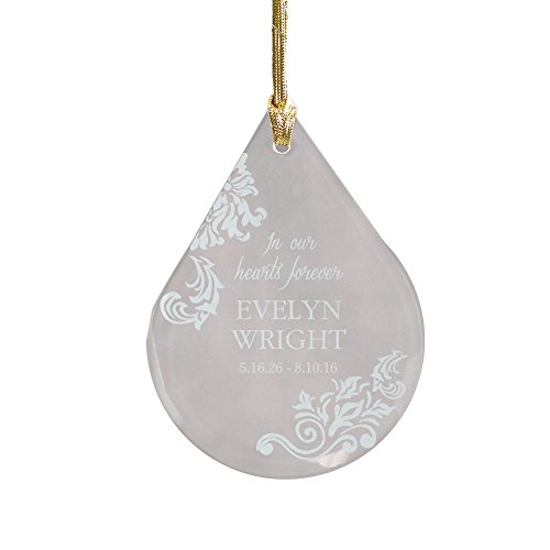 GiftsForYouNow Engraved in Memory of Personalized Tear Glass Ornament