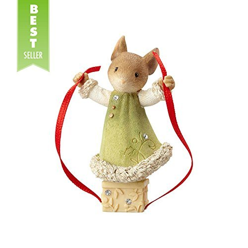 Enesco 4057654 Heart of  Christmas Mouse Wrapping Gift Figurine