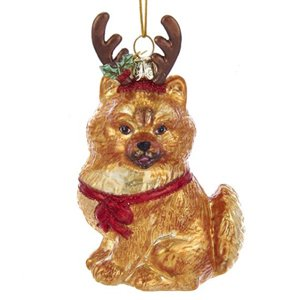 Kurt Adler NOBLE GEMS GLASS POMERANIAN WITH ANTLERS ORNAMENT