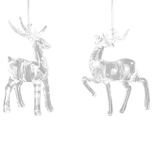 Roman Deer with Glitter Antlers 4 Inch Acrylic Christmas Ornament Set of 2