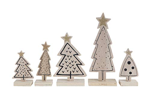 Creative Co-Op Wood Trees, Natural with Gold Glitter, Set of 5