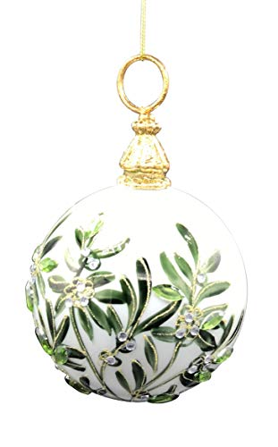 One Hundred 80 Degrees Blown Glass Holiday Foliage Ball Hanging Ornament 6 Inches Tall 3.75 Inch Diameter (Greenery)